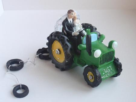 Bride and Groom on Green Tractor - Wedding Cake Toppers - Online ...
